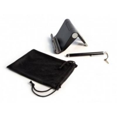 Trousse de voyage avec support pliable, pochette en microfibre et stylet pour tablettes et téléphones intelligents